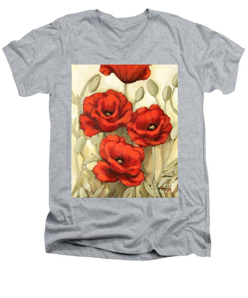 Hot Red Poppies Men's V-Neck T-Shirt by Inese Poga