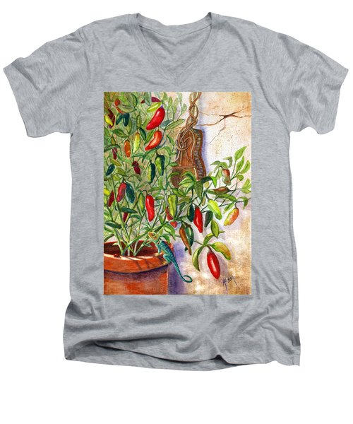 Men's V-Neck T-Shirt featuring the painting Hot Sauce On The Vine by Marilyn Smith