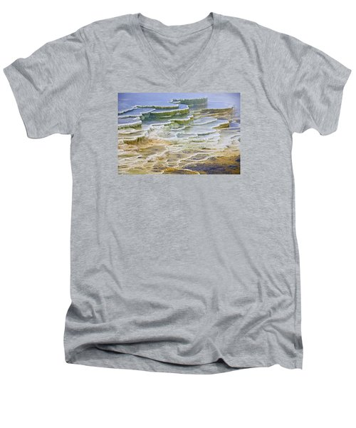 Men's V-Neck T-Shirt featuring the photograph Hot Springs Runoff by Gary Lengyel