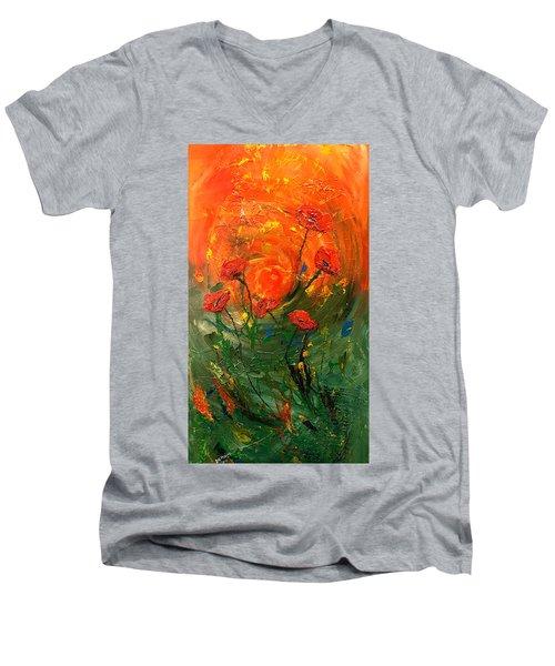 Hot Summer Poppies Men's V-Neck T-Shirt by Dorothy Maier