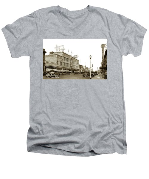Hotel Cominos On Main Street In Salinas, Calif. Circa 1932 Zan Stark Photo # 423  Men's V-Neck T-Shirt
