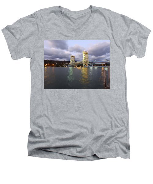 Men's V-Neck T-Shirt featuring the photograph Houghton - Hancock Bridge by Janice Adomeit