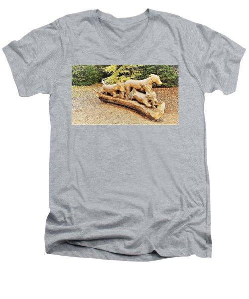Hounds On The Run Men's V-Neck T-Shirt by John Williams