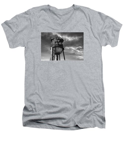 Men's V-Neck T-Shirt featuring the photograph House Of Blues B/w by Laura Fasulo