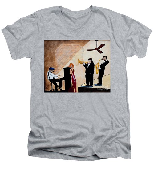 Men's V-Neck T-Shirt featuring the painting House Of The Rising Sun by Barbara McMahon
