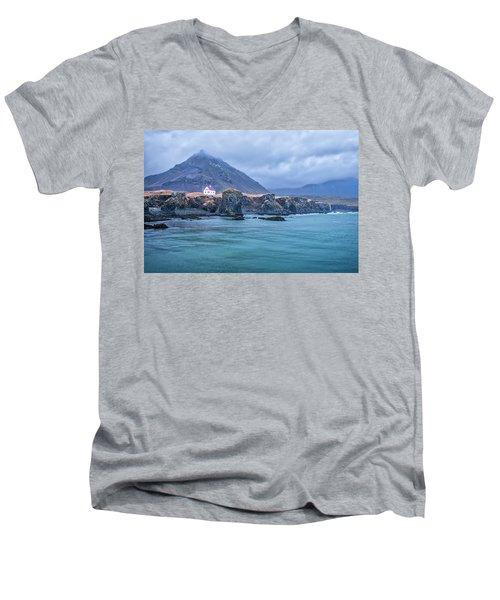 House On Ocean Cliff In Iceland Men's V-Neck T-Shirt by Joe Belanger