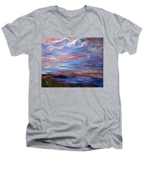 House On The Point Sunset Men's V-Neck T-Shirt by Michael Helfen