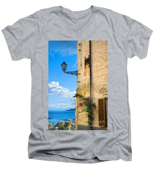 House With Bougainvillea Street Lamp And Distant Sea Men's V-Neck T-Shirt