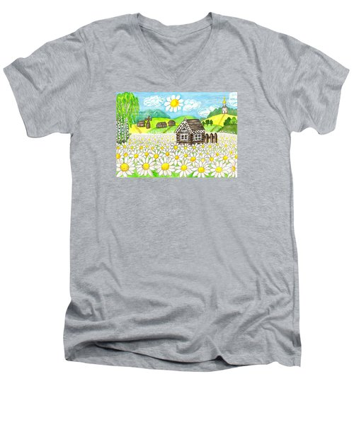 House With Camomiles, Painting Men's V-Neck T-Shirt by Irina Afonskaya