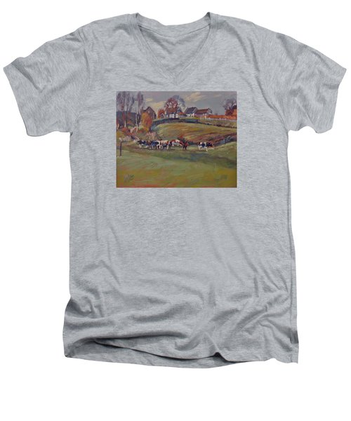 Houses And Cows In Schweiberg Men's V-Neck T-Shirt by Nop Briex