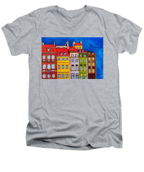 Men's V-Neck T-Shirt featuring the painting Houses In The Oldtown Of Warsaw by Dora Hathazi Mendes