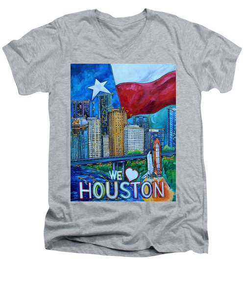 Houston Montage Men's V-Neck T-Shirt by Patti Schermerhorn