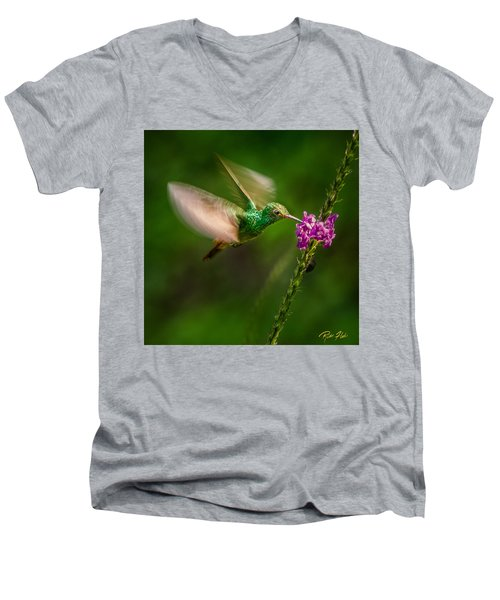 Men's V-Neck T-Shirt featuring the photograph Hovering In The Vervain  by Rikk Flohr