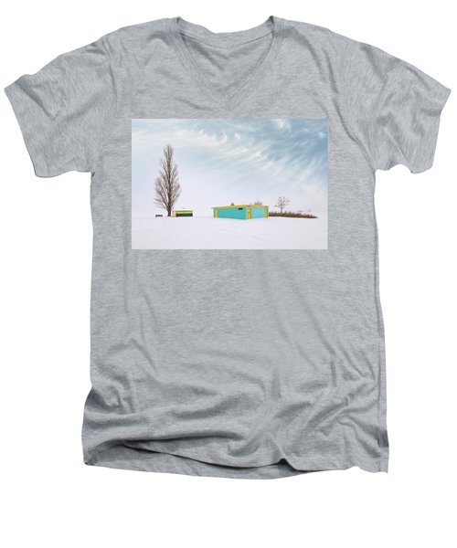 Men's V-Neck T-Shirt featuring the photograph How To Wear Bright Colors In The Winter by John Poon