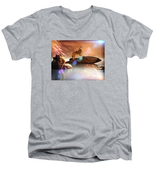 Howling Wolf Tropical Men's V-Neck T-Shirt by Jacqueline Lloyd
