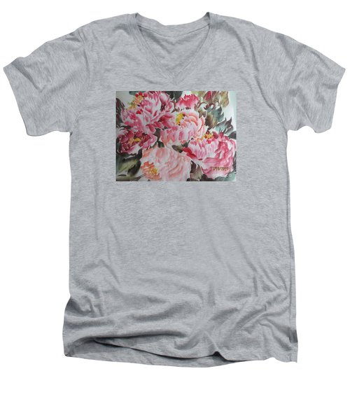 Men's V-Neck T-Shirt featuring the painting Hp11192015-0755 by Dongling Sun