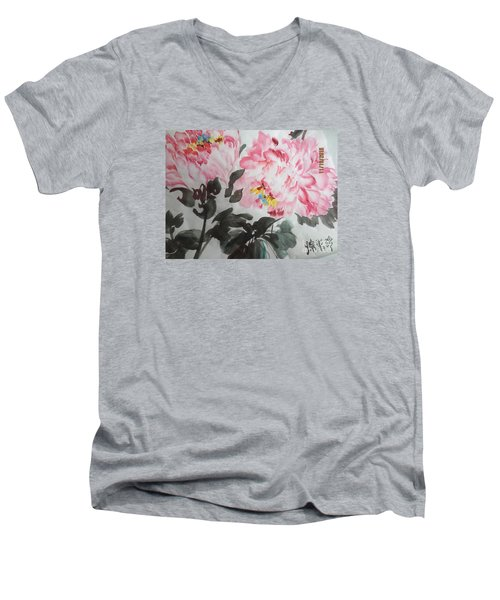 Men's V-Neck T-Shirt featuring the painting Hp11192015-0770 by Dongling Sun