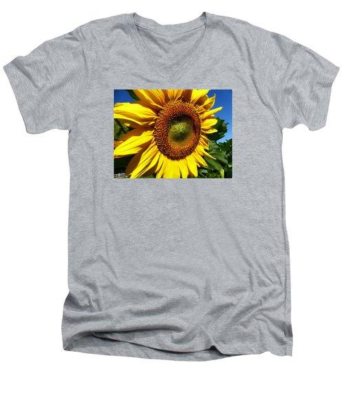 Huge Bright Yellow Sunflower Men's V-Neck T-Shirt