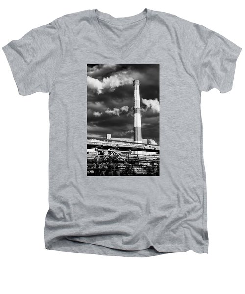 Huge Industrial Chimney And Smoke In Black And White Men's V-Neck T-Shirt by John Williams