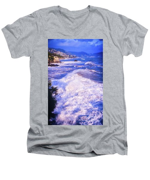 Men's V-Neck T-Shirt featuring the photograph Huge Wave In Ligurian Sea by Silvia Ganora
