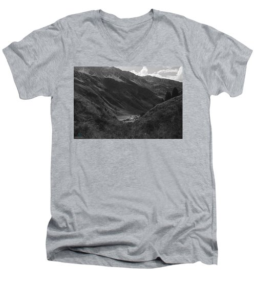 Hugged By The Mountains Men's V-Neck T-Shirt by Cesare Bargiggia