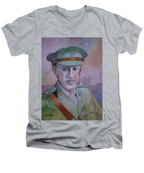 Men's V-Neck T-Shirt featuring the painting Hugo Throssel Vc by Ray Agius