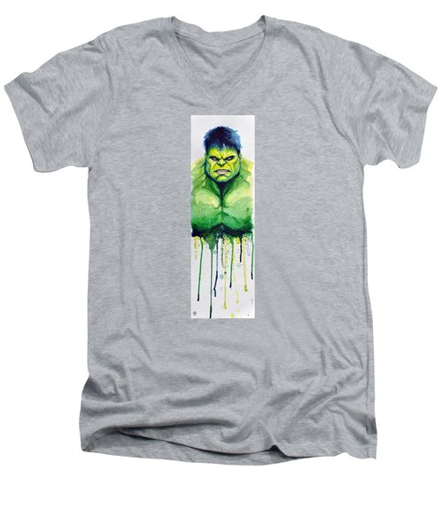 Hulk Men's V-Neck T-Shirt by David Kraig