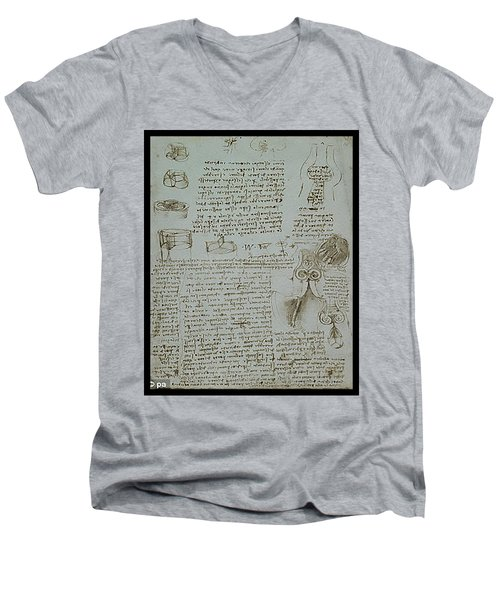 Men's V-Neck T-Shirt featuring the painting Human Study Notes by James Christopher Hill