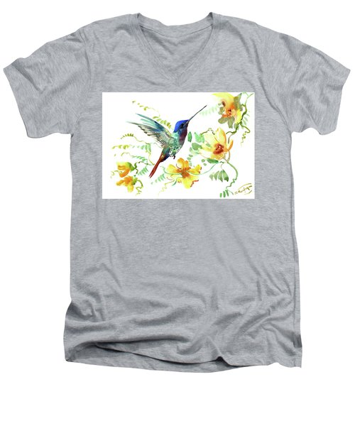 Hummibgbird And Yellow Flowers Men's V-Neck T-Shirt