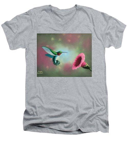 Humming Bird Feeding Men's V-Neck T-Shirt by Brenda Bonfield