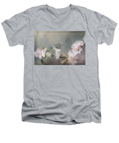 Hummingbird And Blossoms Men's V-Neck T-Shirt