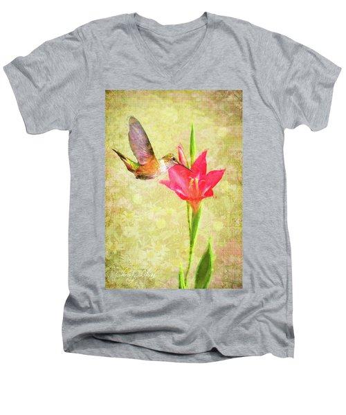 Hummingbird And Flower Men's V-Neck T-Shirt