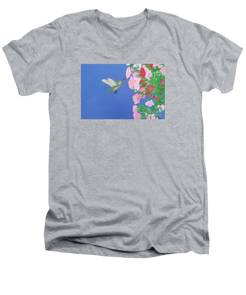 Hummingbird And Petunias Men's V-Neck T-Shirt
