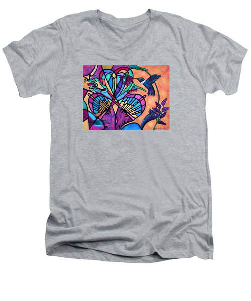 Hummingbird And Stained Glass Hearts Men's V-Neck T-Shirt