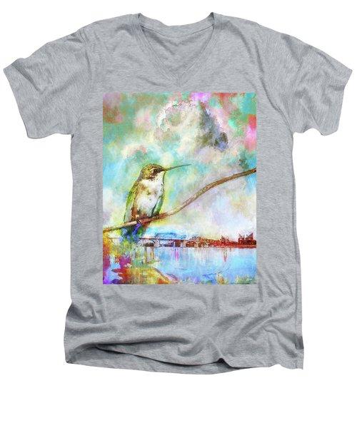 Hummingbird By The Chattanooga Riverfront Men's V-Neck T-Shirt by Steven Llorca