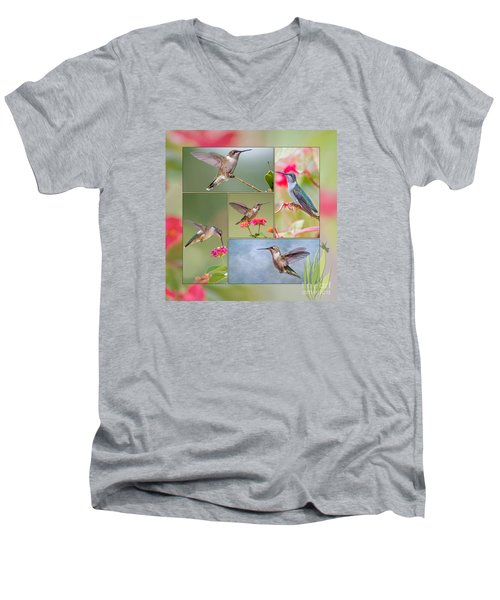 Hummingbird Collage Men's V-Neck T-Shirt by Bonnie Barry