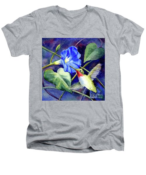 Men's V-Neck T-Shirt featuring the painting Hummingbird Delight by Bonnie Rinier