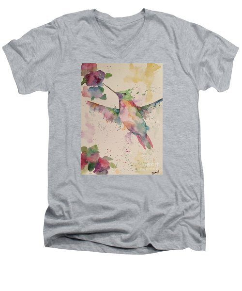 Men's V-Neck T-Shirt featuring the painting Hummingbird by Denise Tomasura