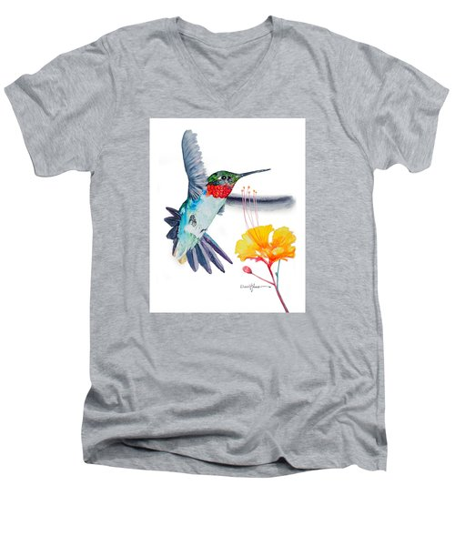 Da169 Hummingbird Flittering Daniel Adams Men's V-Neck T-Shirt