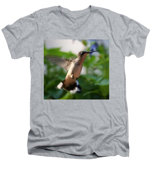 Men's V-Neck T-Shirt featuring the photograph Hummingbird by Heidi Poulin