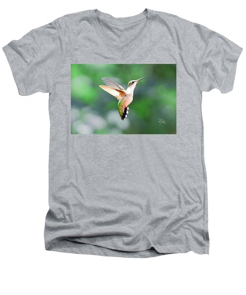 Men's V-Neck T-Shirt featuring the photograph Hummingbird Hovering by Meta Gatschenberger