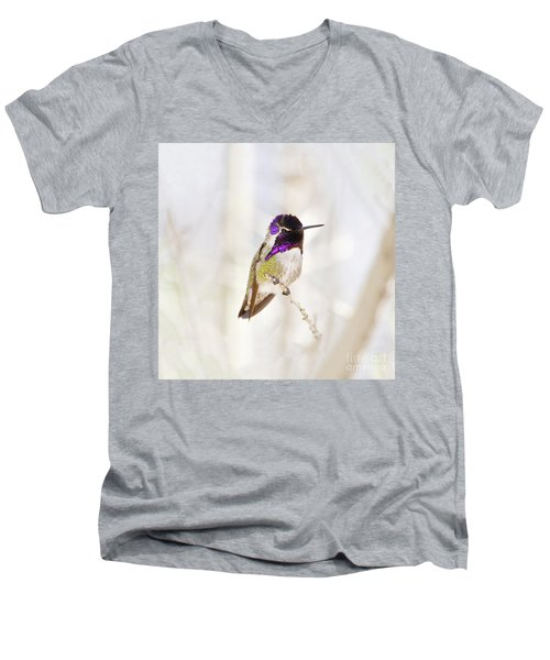 Men's V-Neck T-Shirt featuring the photograph Hummingbird Larger Background by Rebecca Margraf
