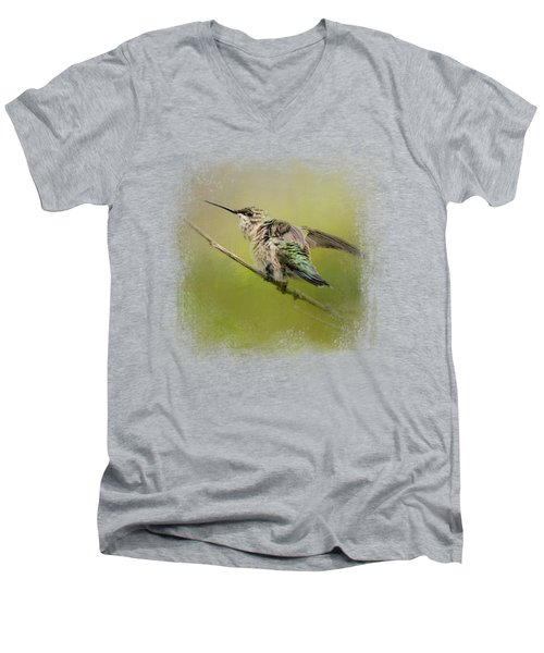 Hummingbird On Lime Men's V-Neck T-Shirt