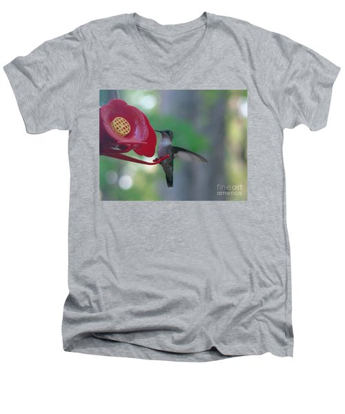 Men's V-Neck T-Shirt featuring the photograph Hummingbird  by Rand Herron