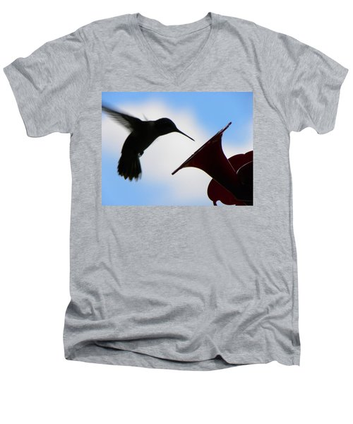 Men's V-Neck T-Shirt featuring the photograph Hummingbird Silhouette by Sandi OReilly