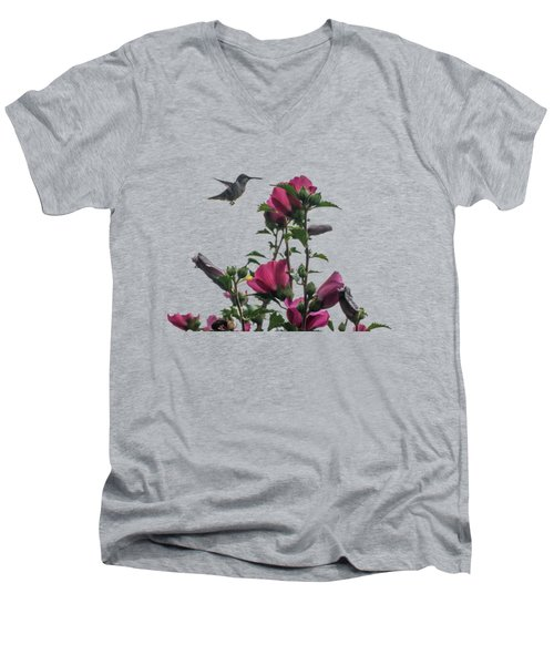Hummingbird With Rose Of Sharon Men's V-Neck T-Shirt by Photographic Arts And Design Studio
