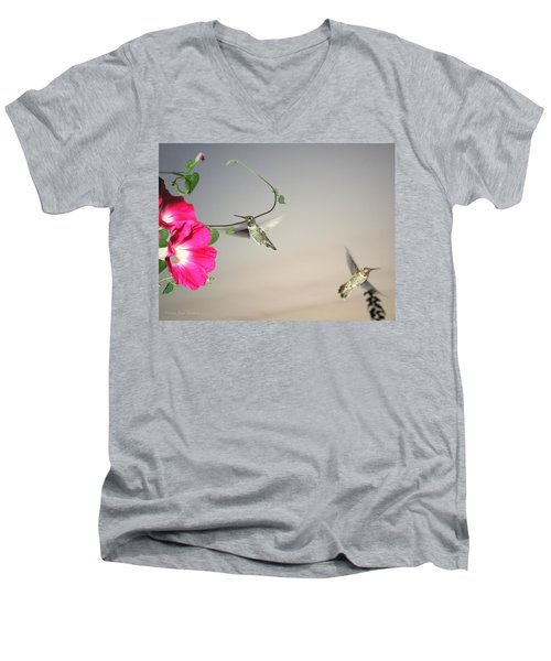 Men's V-Neck T-Shirt featuring the photograph Hummingbirds Coming And Going by Joyce Dickens