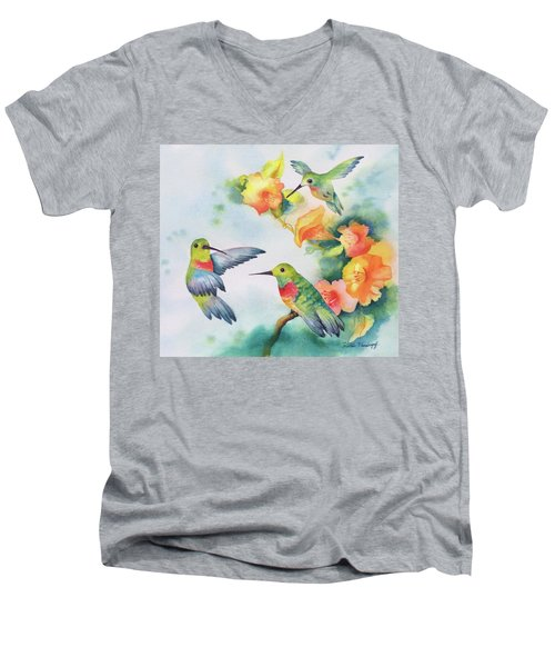 Hummingbirds With Orange Flowers Men's V-Neck T-Shirt