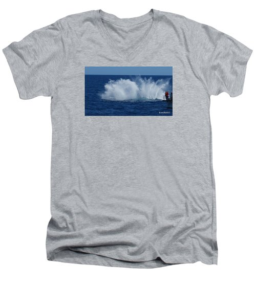 Humpback Whale Breaching Close To Boat 23 Image 3 Of 4 Men's V-Neck T-Shirt by Gary Crockett