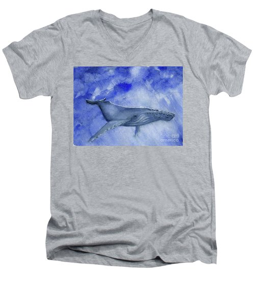Humpback Yearling Under Our Boat Men's V-Neck T-Shirt by Randy Sprout